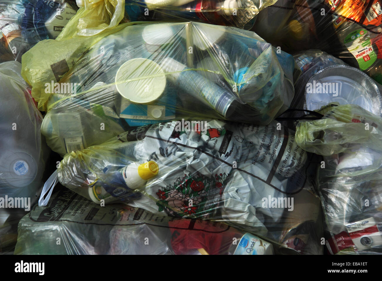 Yellow garbage bags, recycling sacks for the collection of recyclable packaging material, Biberach an der Riss, - Stock Image