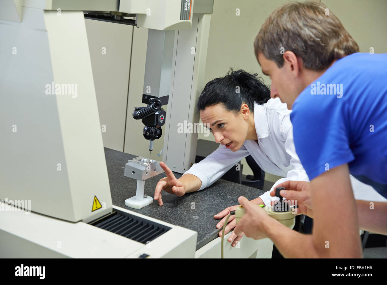Training room. Student learning measured in three-dimensional machine. Coordinate Measuring Machine. Innovative - Stock Image