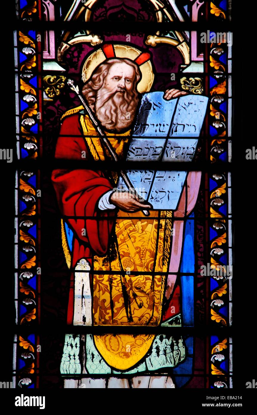 19th century stained-glass window depicting Moses with the Tablets of the Law, at Notre Dame church, Sainte-Foy-la-Grande, Stock Photo
