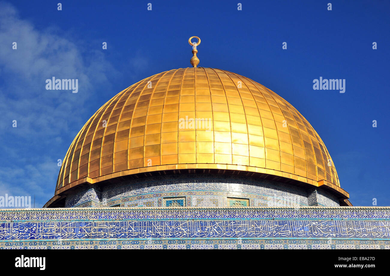 The Dome of the Rock, one of the main sanctuaries of Islam, Temple Mount, Old City, Jerusalem, Israel - Stock Image