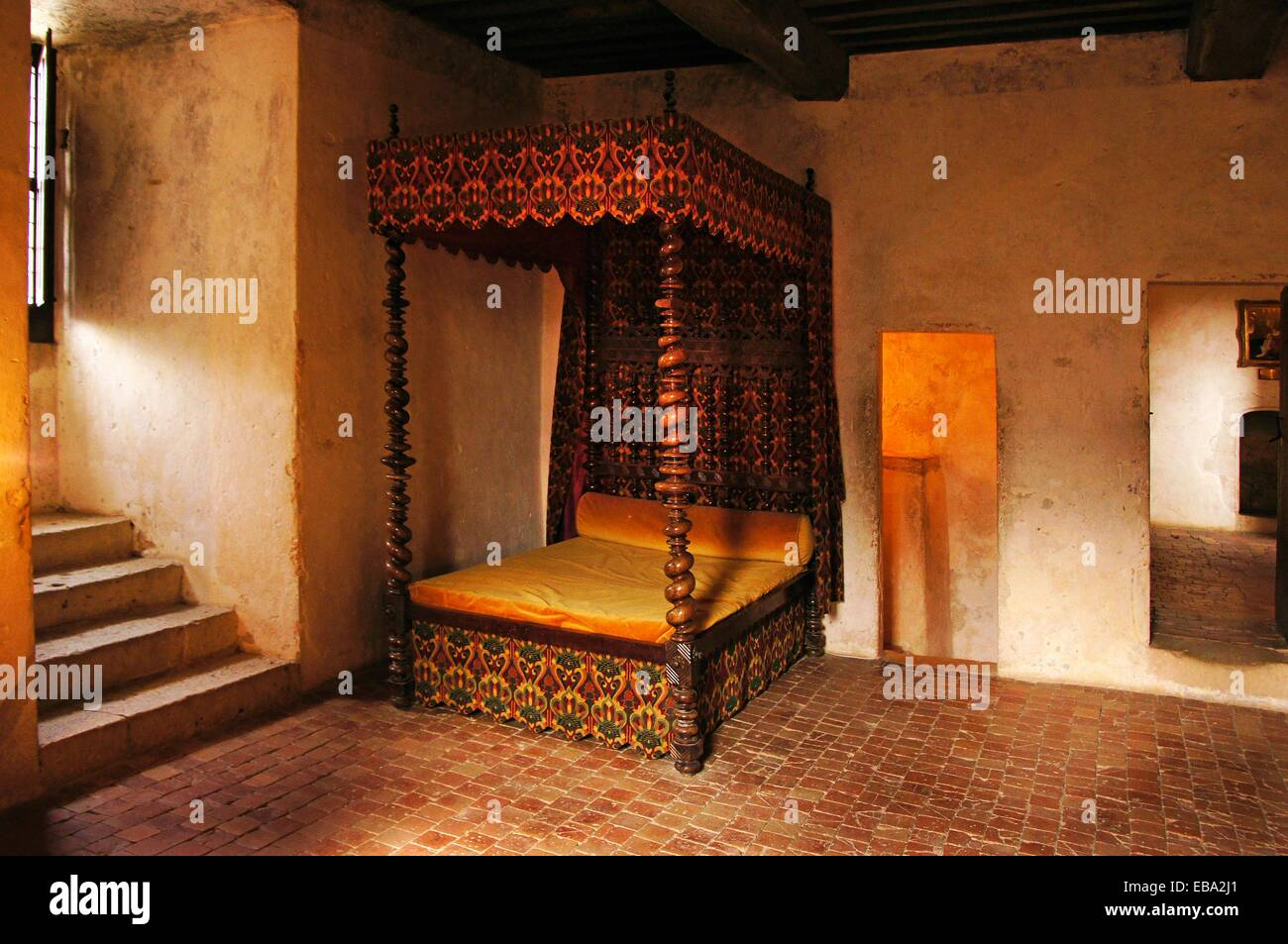 France-Aquitaine-Dordogne- Montaigne´s room in the historical tower (14th century) at Château de Montaigne - Stock Image