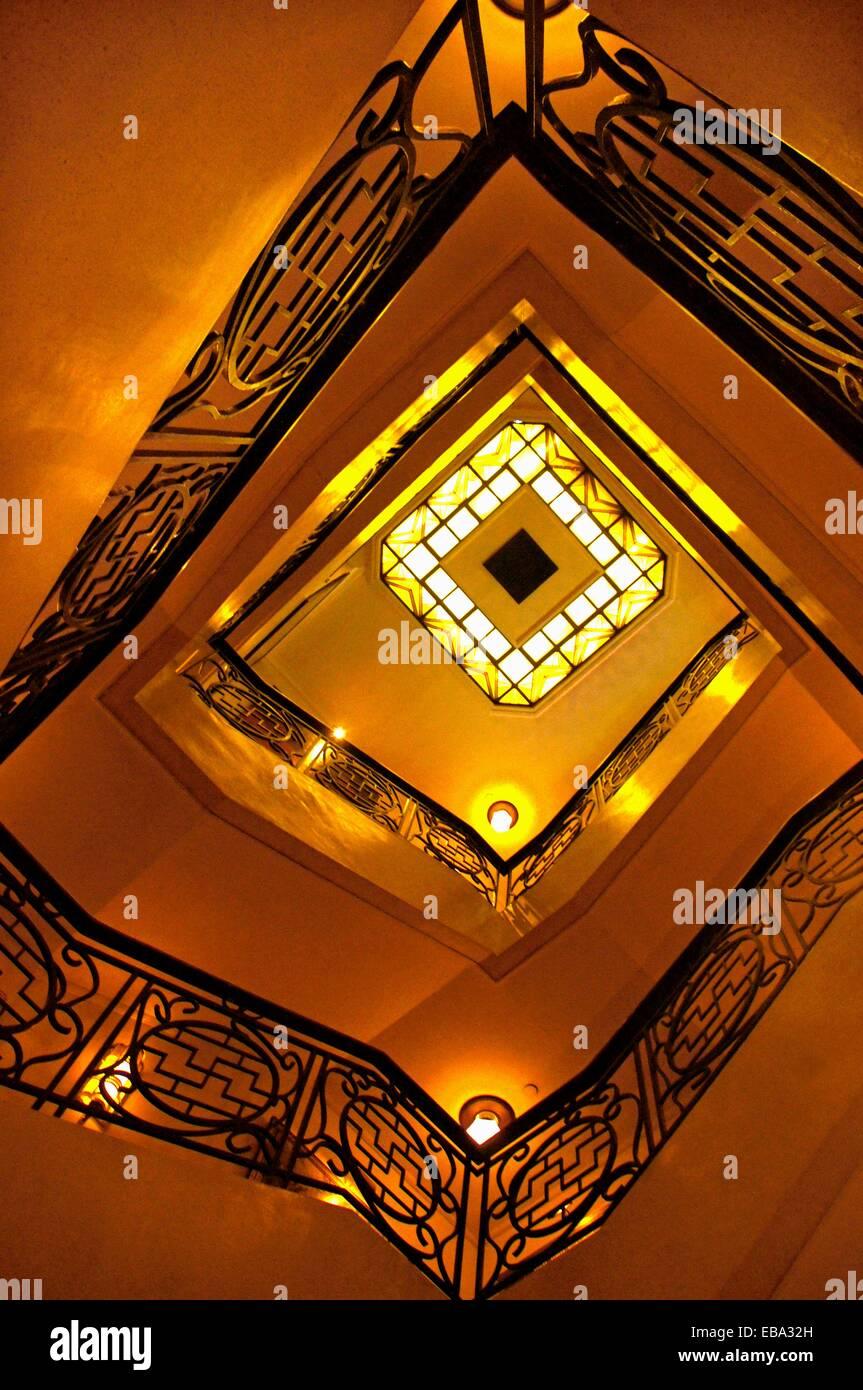 Staircase at at the exclusive ´China Club´, Hong Kong, China - Stock Image