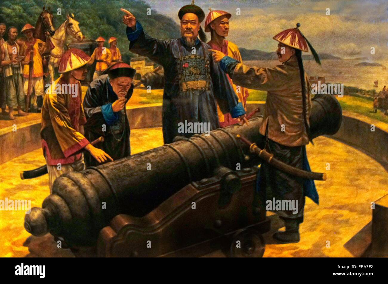 1800s 1840 19th century Asia Bogue Boops boops cannon China coastal color image commander defence Deng drawing firearm - Stock Image