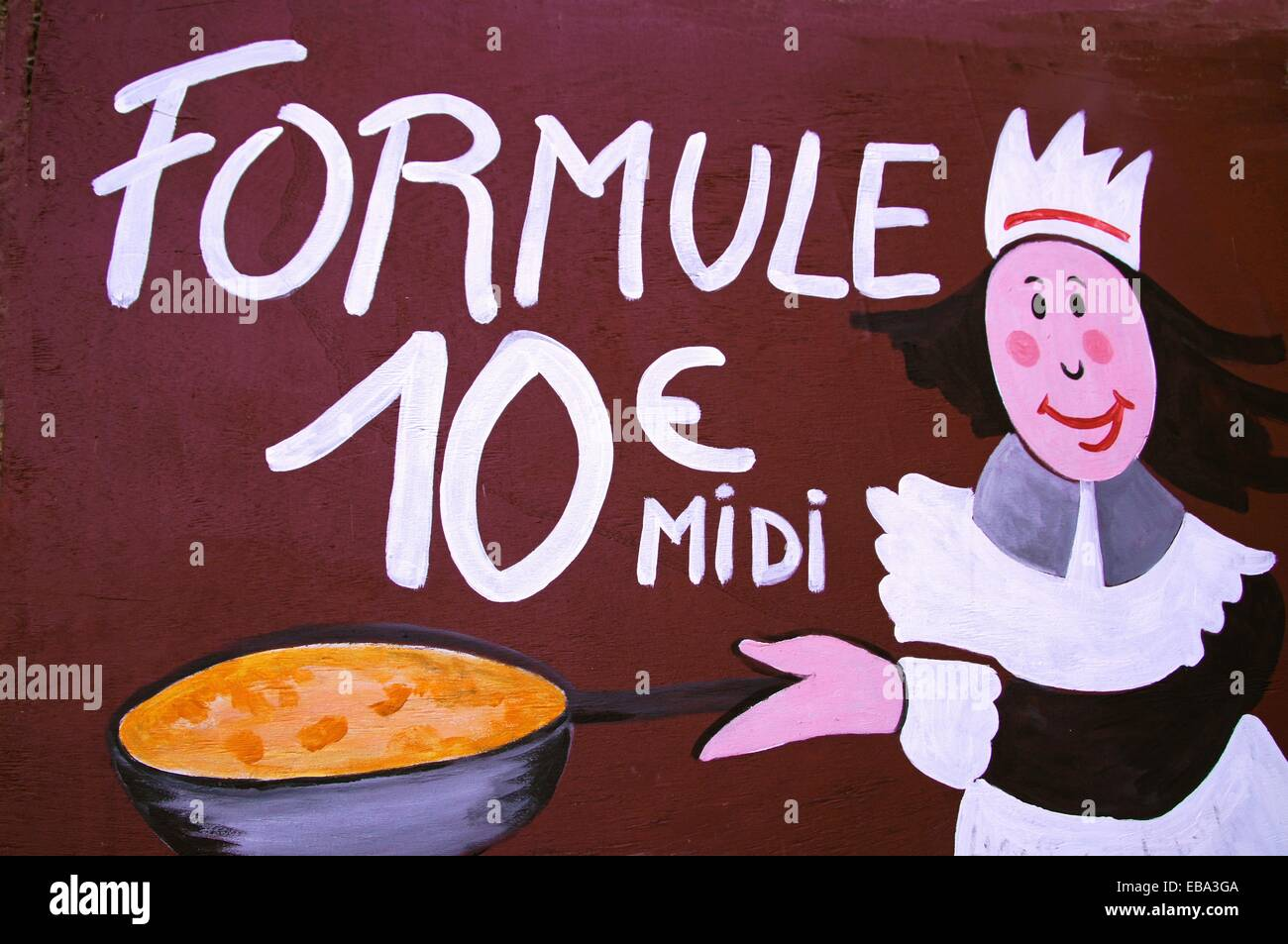 ´Formule Midi´ sign for the midday menu at Terrasson, Dordogne, Aquitaine, France - Stock Image