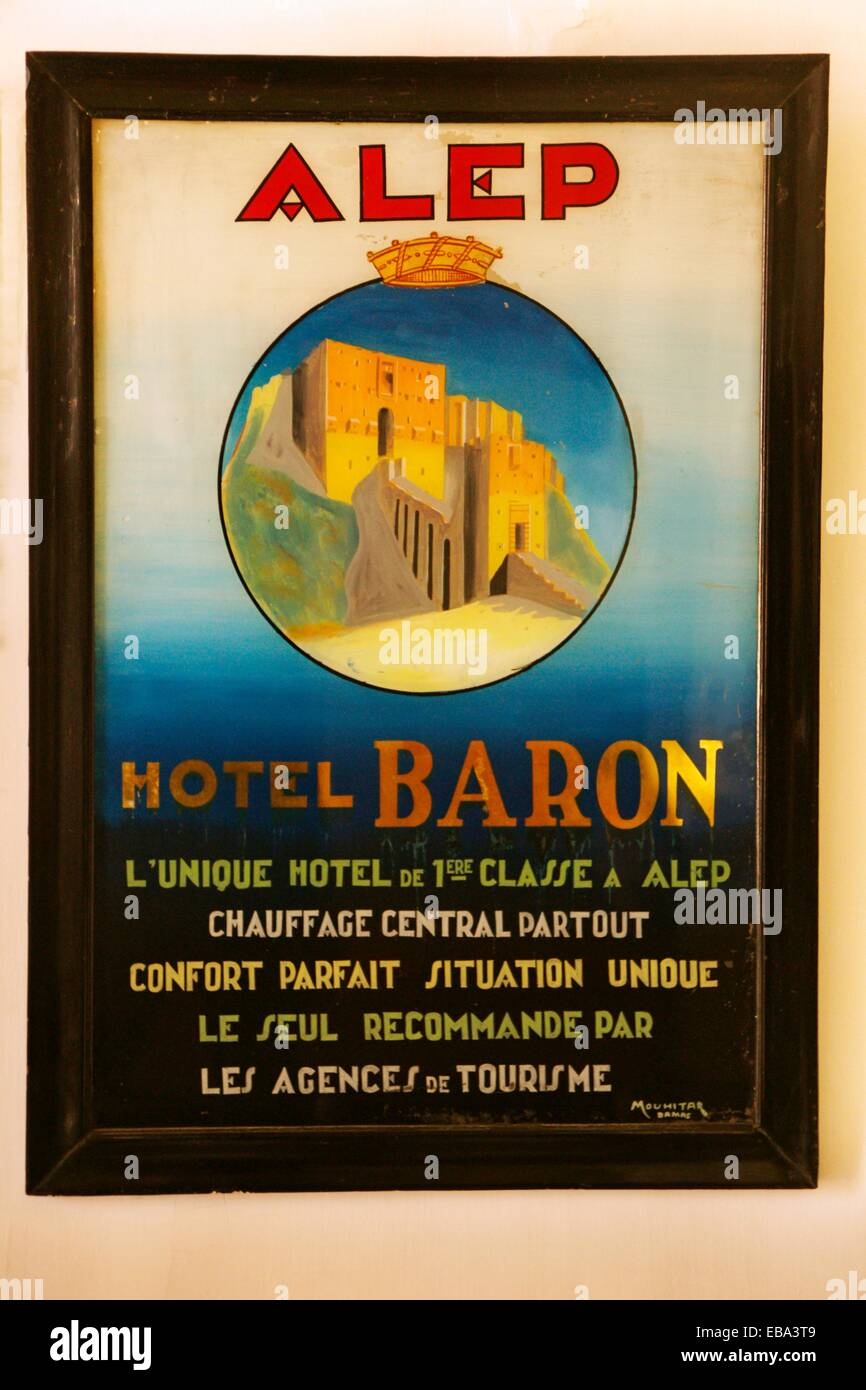 Poster of the Baron Hotel (c. 1920), Aleppo, Syria - Stock Image