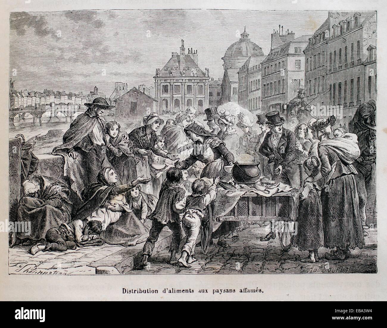 France, History,  1817-Distribution d´aliments aux paysans affamés - Stock Image