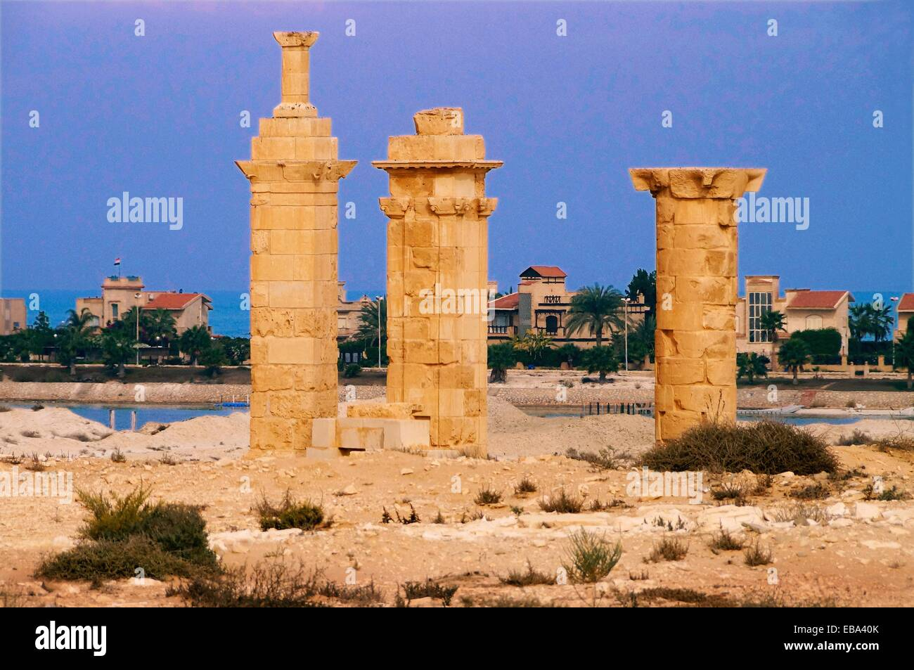 Roman ruins (4th century) by Marina an exclusive beach resort El Alamein Egypt - Stock Image