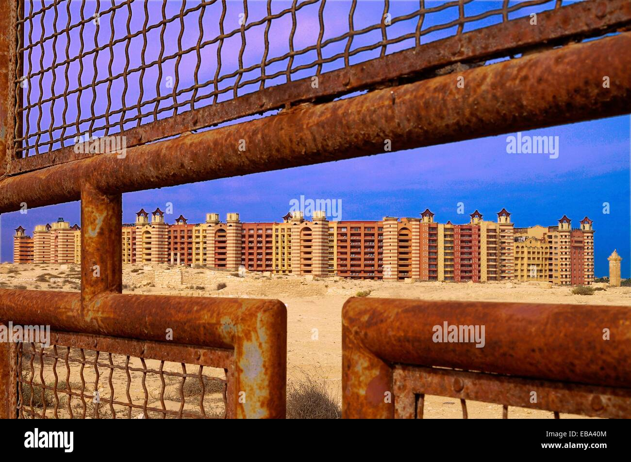 Exclusive beach resort of Marina with romain ruins (4th century) included, El Alamein, Egypt - Stock Image
