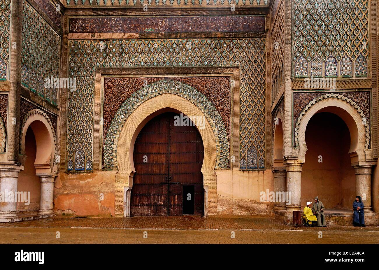 Morocco-Meknes- Bab Mansour gate, named after the architect, El-Mansour. It was completed 5 years after Moulay Ismail's Stock Photo