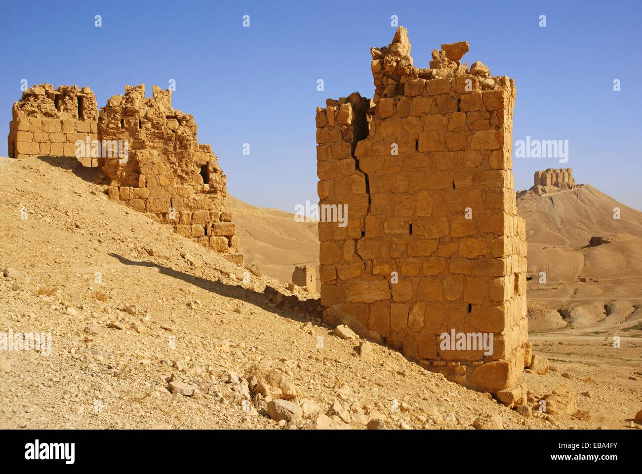Syria, Palmyra, Funerary towers and the Arab Castle - Stock Image