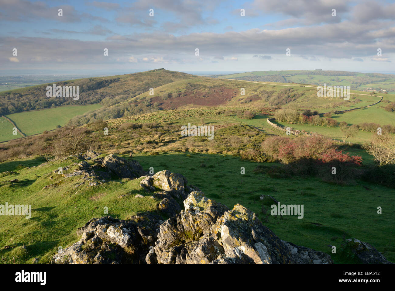 The distinctive top of Crook Peak viewed from Wavering Down on the Mendip Hills, Somerset. - Stock Image