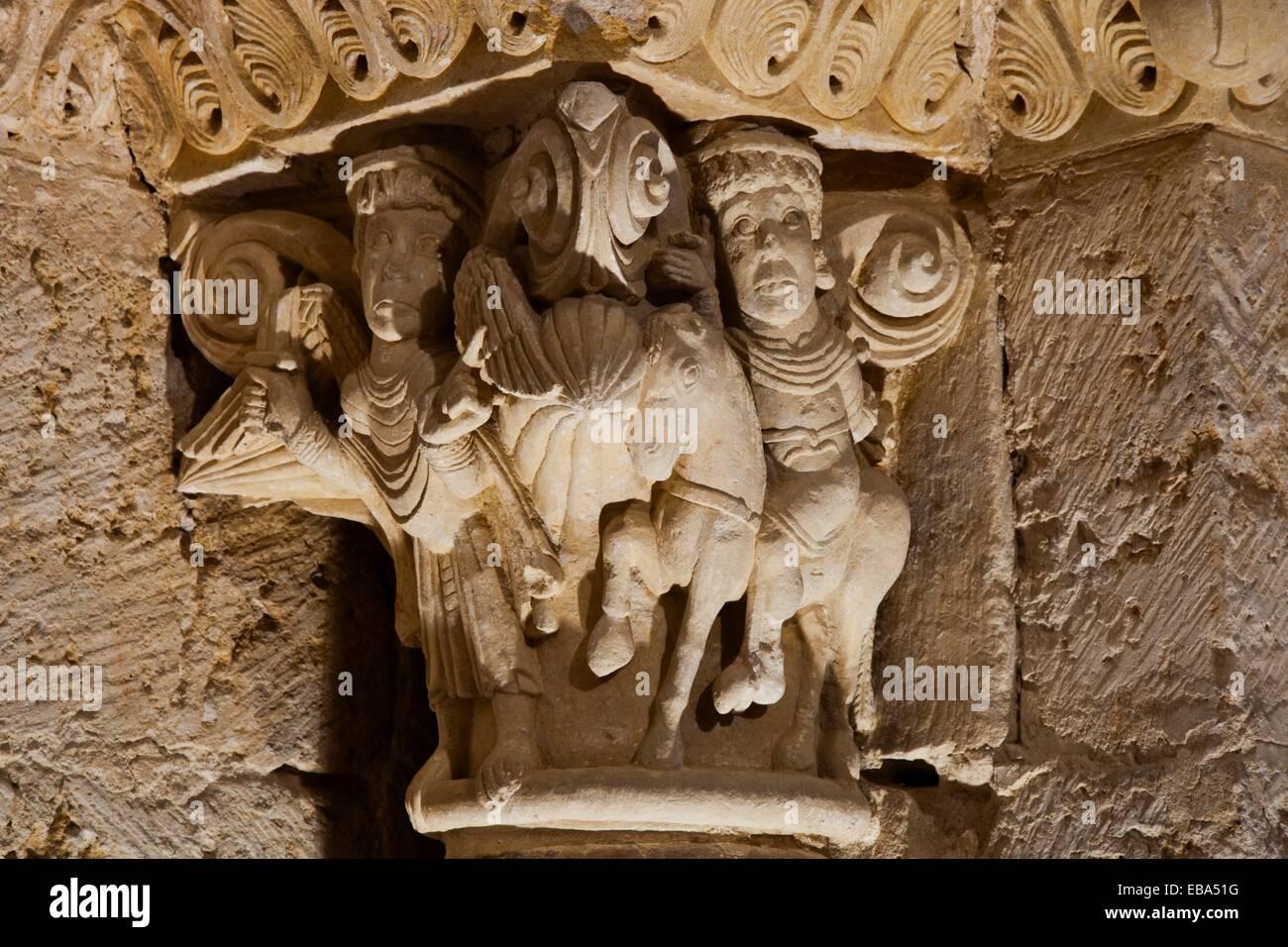 Capital in Romanesque facade  San Zoilo Monastery  Carrion de los Condes Route of Santiago  PALENCIA  CASTILLA Y - Stock Image