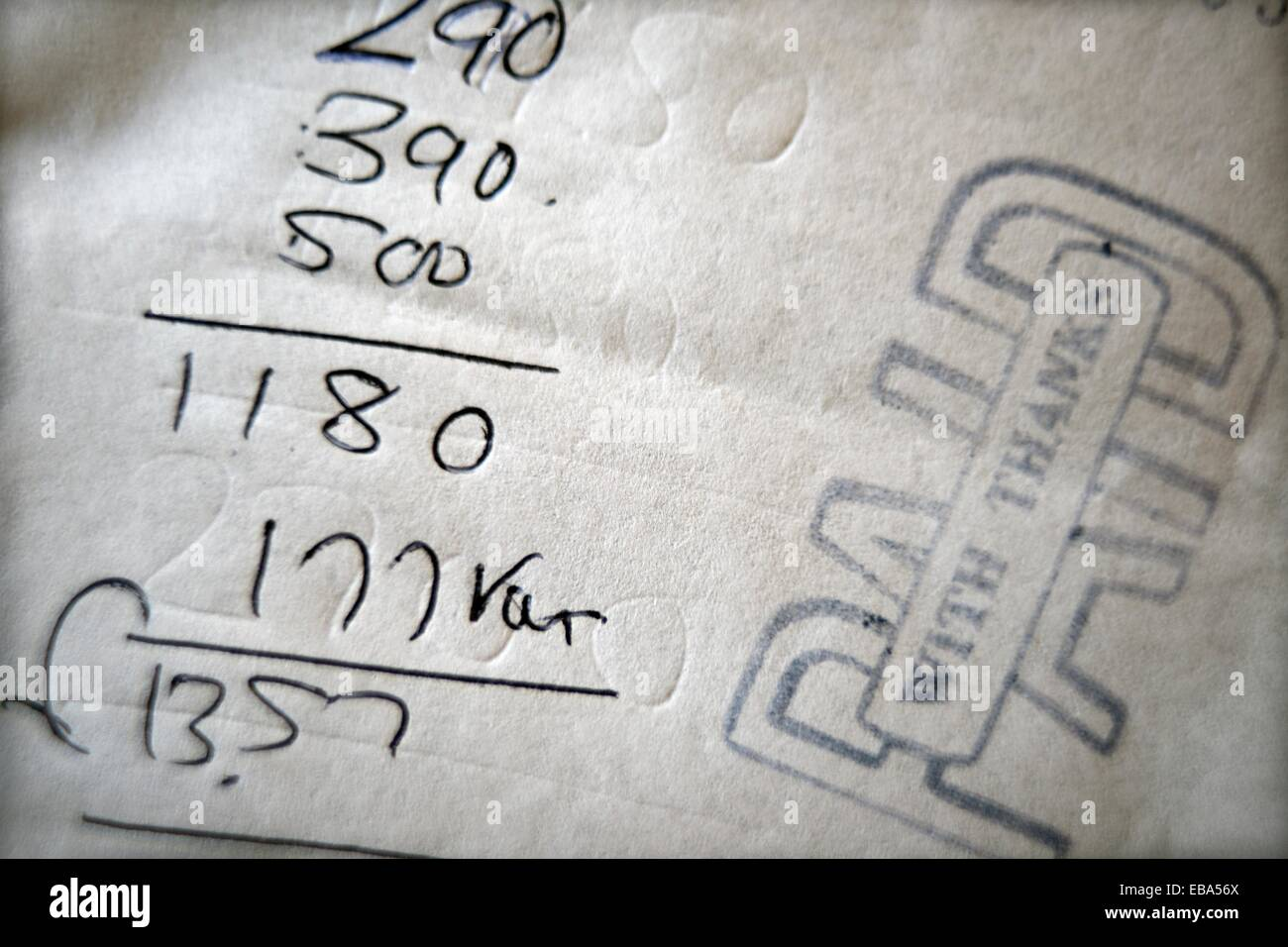 factura de restaurante, pagado, gracias, restaurant bill, paid with thanks - Stock Image