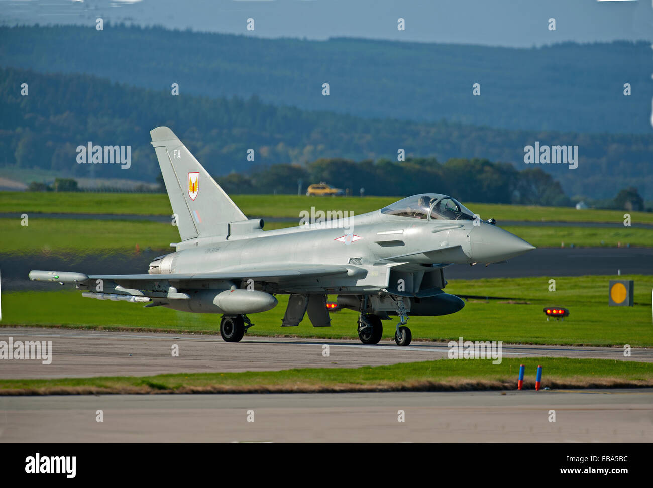 Eurofighter Typhoon FRG4 Military Fast Jet Fighter on taxiway at RAF Lossiemouth.  SCO 9243 Stock Photo