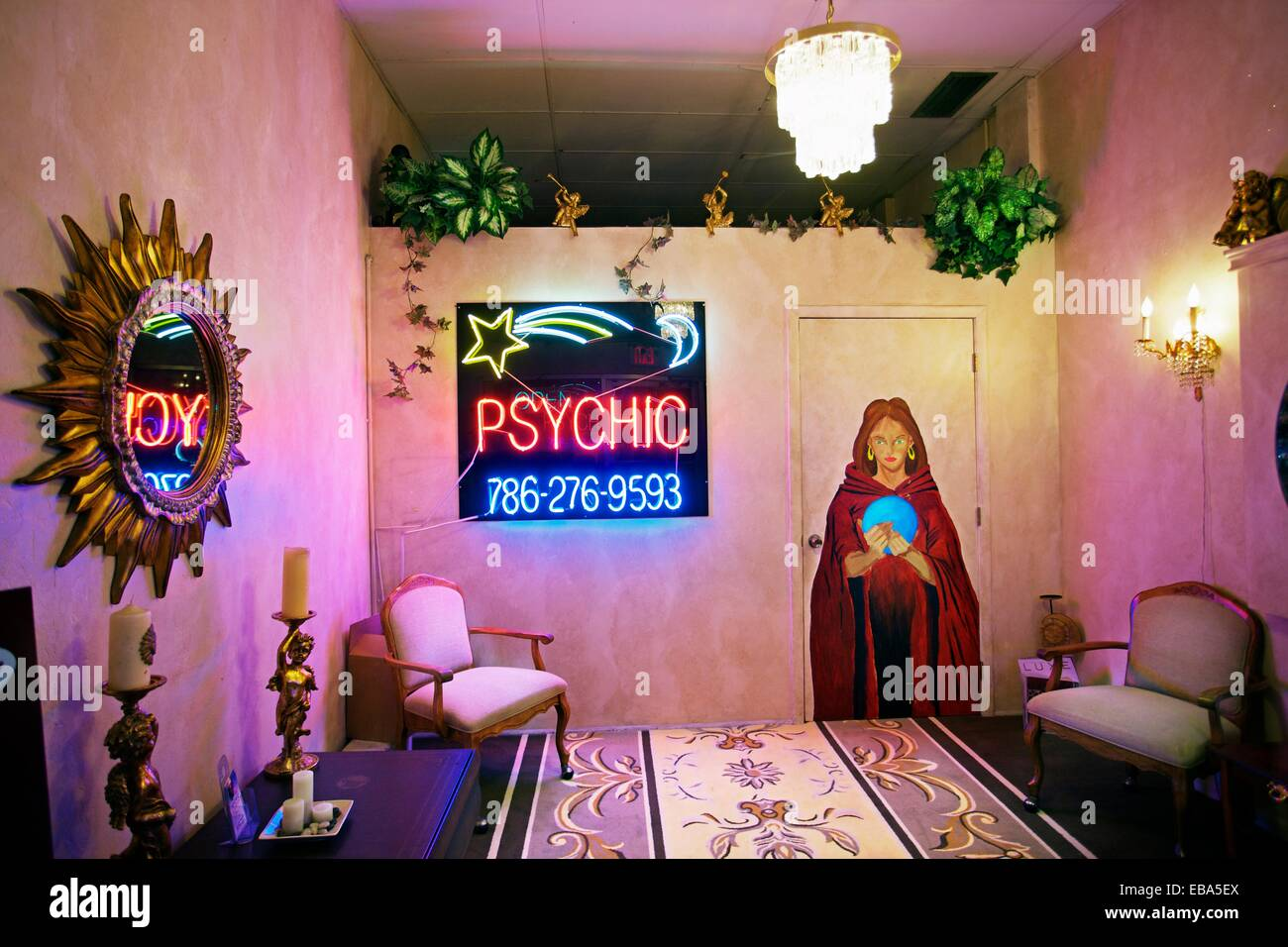 Fortune teller Psychic South Beach Miami Florida USA. - Stock Image