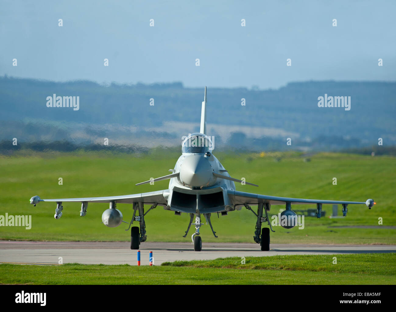 Eurofighter Typhoon FRG4 Military Fast Jet Fighter on taxiway at RAF Lossiemouth.  SCO 9244 - Stock Image