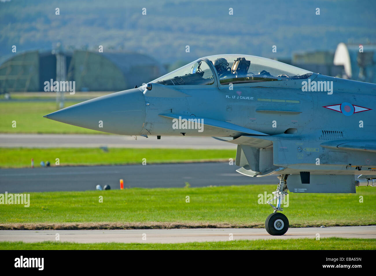 Eurofighter Typhoon FRG4 Military Fast Jet Fighter on taxiway at RAF Lossiemouth.  SCO 9245. - Stock Image