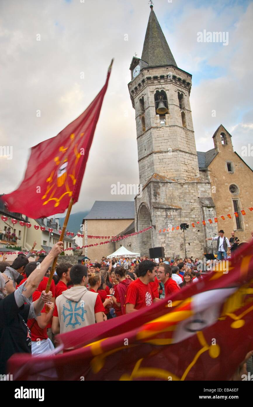 activity Aran Aran Valley Aranes architecture belltower building built structure Catalonia church claim color image - Stock Image