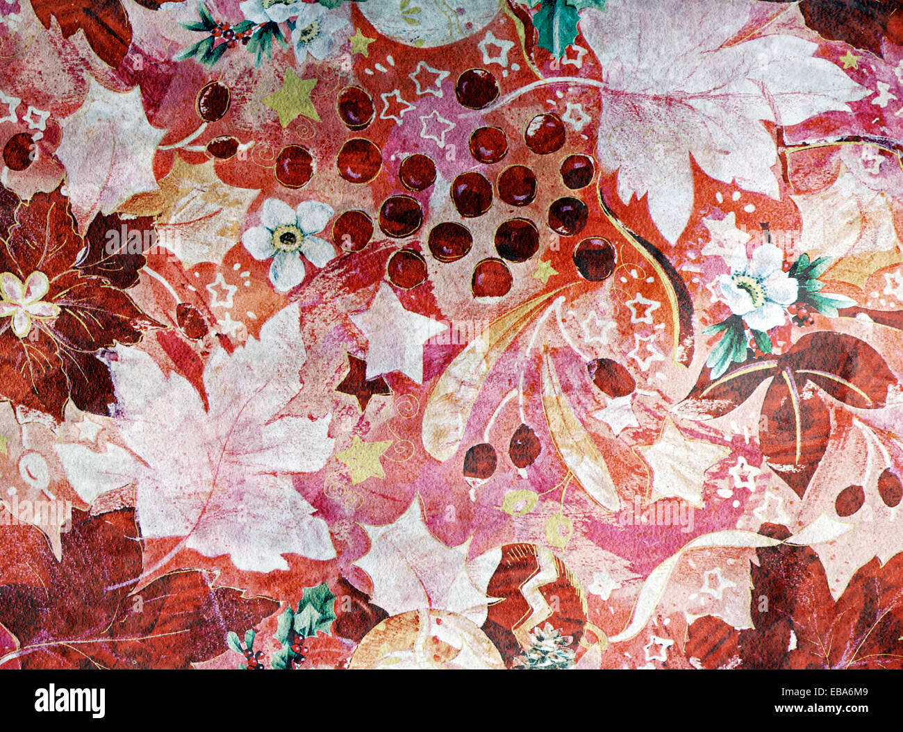 Autumn Or Fall Wallpaper Pattern With Colorful Leaves Berries And Flowers In A Busy Swirling Vintage Style