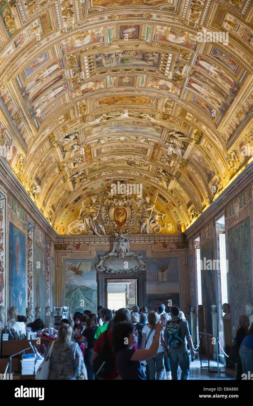 Geographic Chart Hall. Vatican Museum Vatican City Rome Lazio Italy - Stock Image
