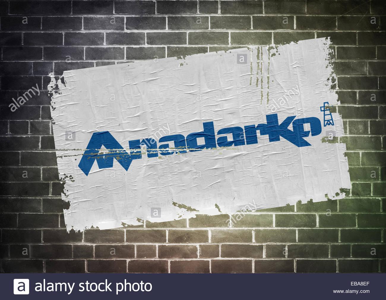 Anadarko Petroleum fracking company logo icon poster - Stock Image