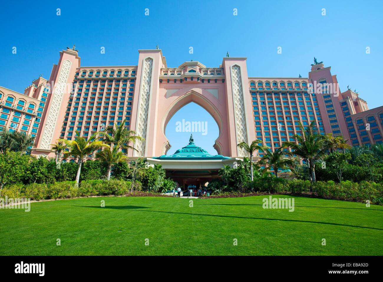 The Atlantis hotel, Palm Jumeirah, Dubai City, Dubai, United Arab Emirates, Middle East. - Stock Image