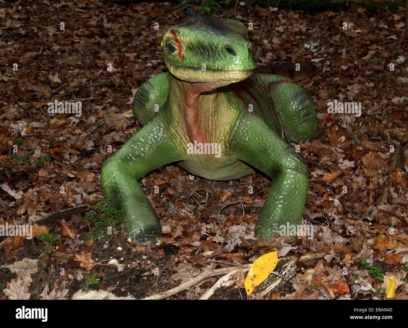 Early Protorosaurus dinosaur, Permian era Over 30 species of lifelike dino statues at  Dinopark Amersfoort Zoo, - Stock Image