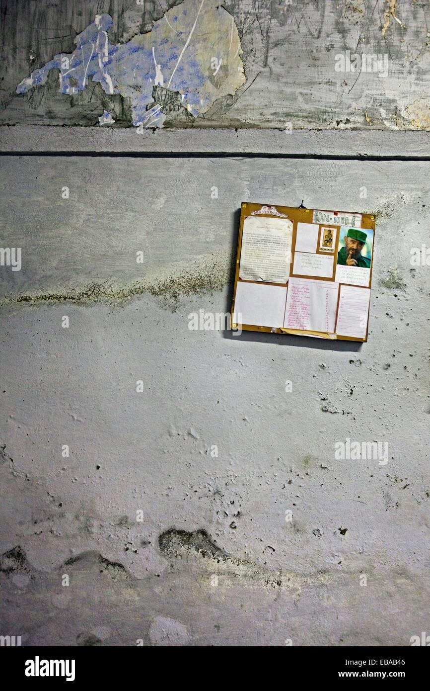 CDR information in a building, Santa Clara, Cuba. - Stock Image