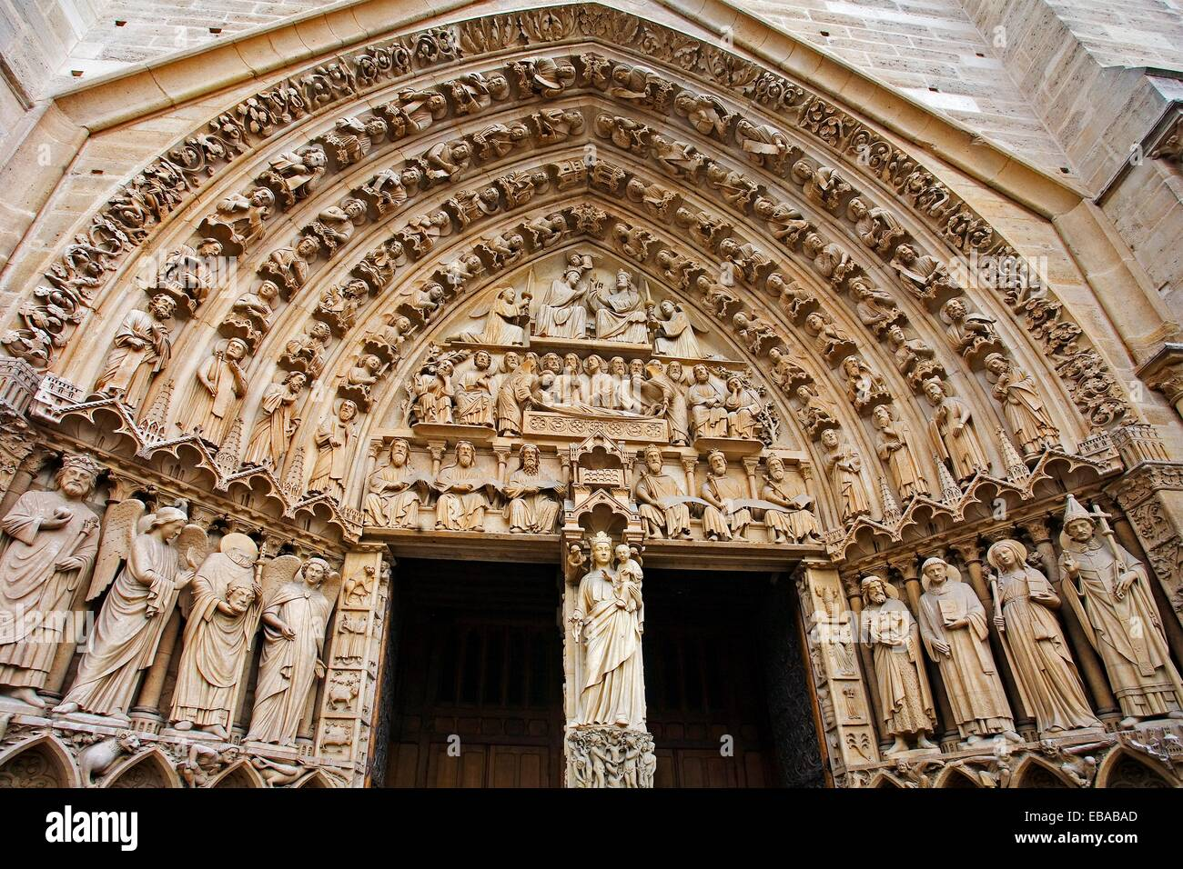 Notre Dame cathedral, faade detail  Paris France. - Stock Image