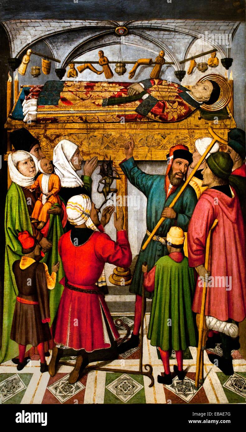 Posthumous Miracles by Saint Vincent ( church of Sant Vicenç de Sarrià ) 1455 Jaume Huguet (1412 – 1492) Spain Spanish Stock Photo