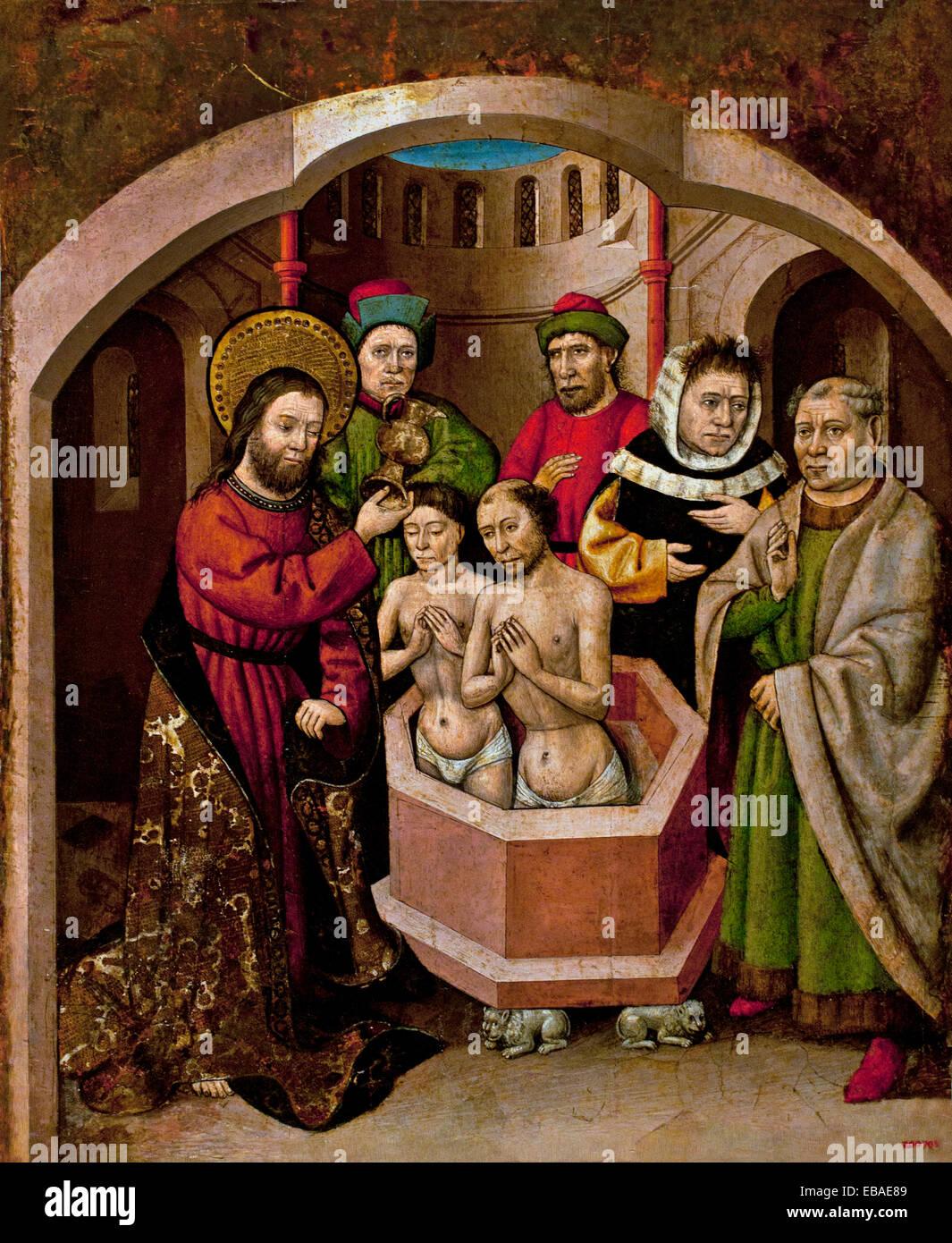 Saint Bartholomew Baptizing 1440  Master of Saint Bartholomew Active circa 1440-1470 Spain Spanish Medieval Gothic - Stock Image