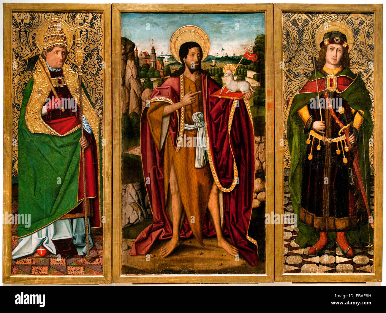 Saint John the Baptist, Saint Fabian and Saint Sebastian 1494 Miguel Ximenez  1462 - 1505  Spain Spanish Medieval Stock Photo