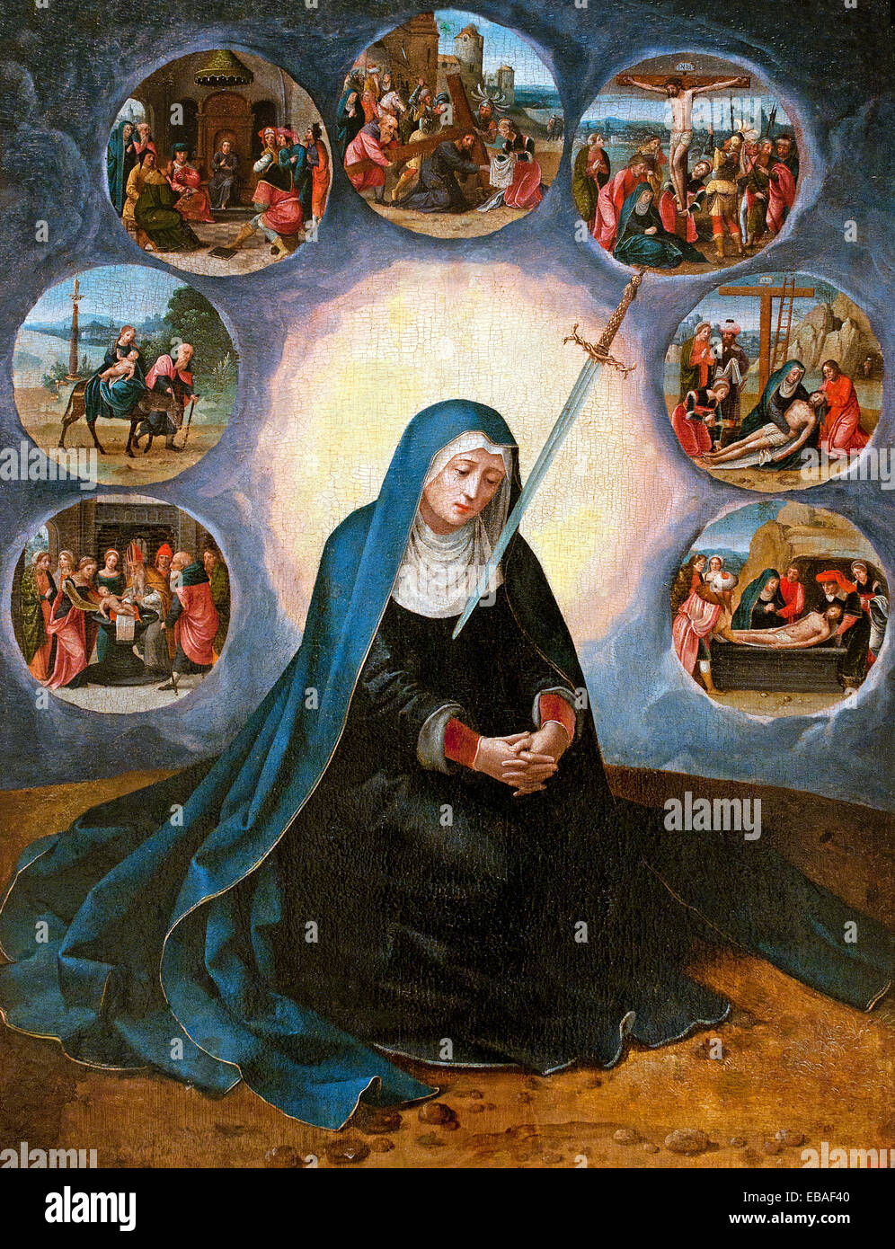 Virgin of the Seven Sorrows  by Master of the Half Lengths Antwerp1530-1560 Renaissance Baroque 16th Century Flemish - Stock Image