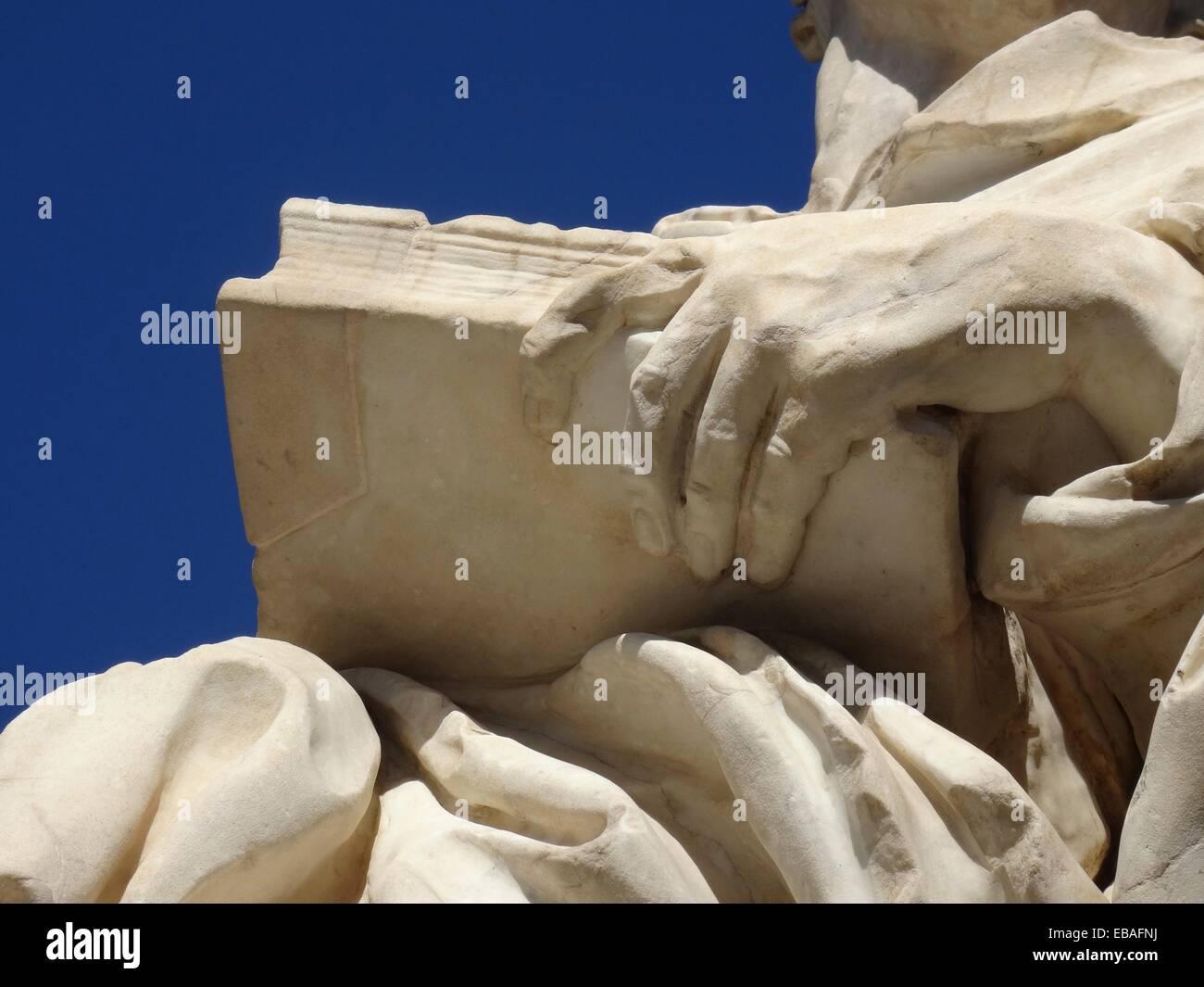 Detail of Saint Luis Bertran Statue, Trinity Bridge, Valencia, Spain. - Stock Image