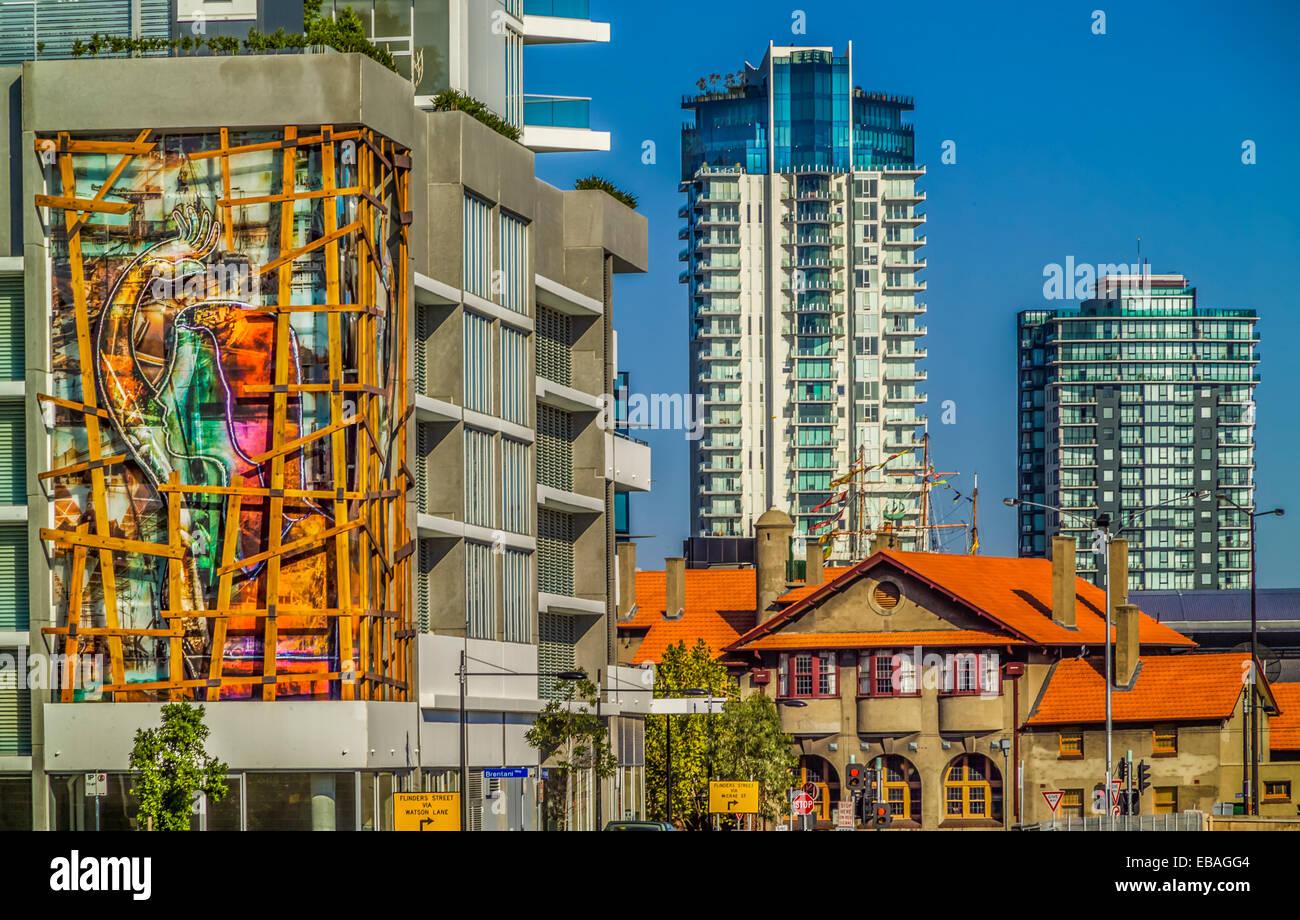 The Wave art installation  by Vashti Gonda Façade of building Docklands, Melbourne - Stock Image