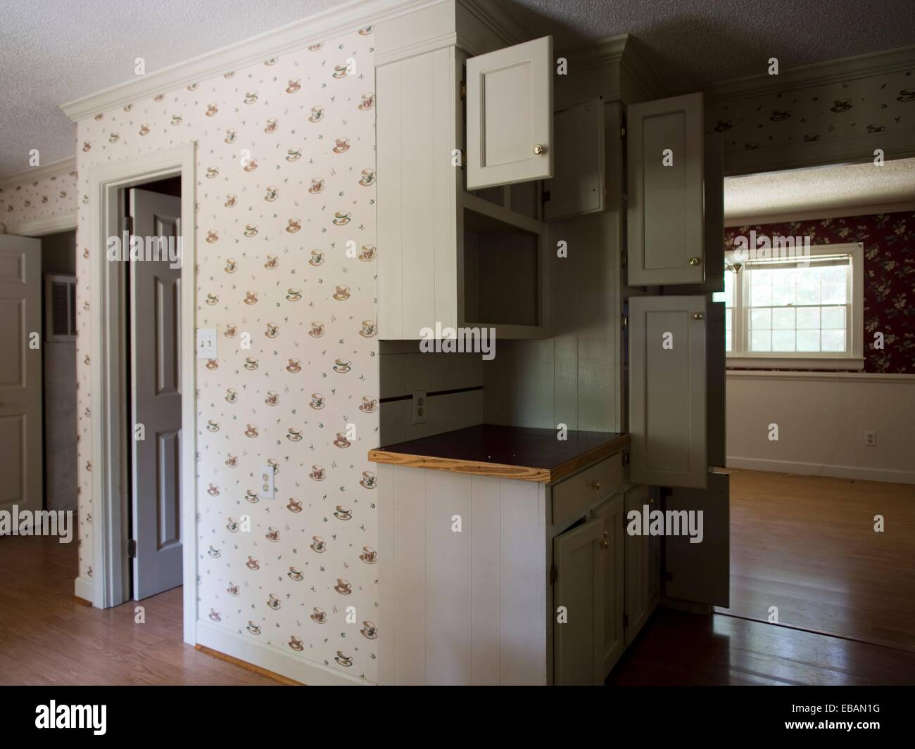 Empty Cabinets Inside The Kitchen Of A Foreclosed Home In Burlington, North  Carolina, United States