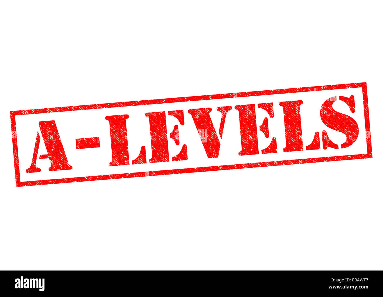 A-LEVELS red Rubber Stamp over a white background. - Stock Image