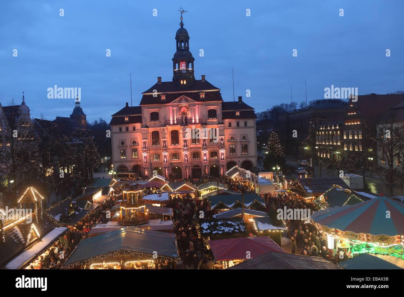Christmas Market, Lueneburg, Lower Saxonia, Germany, Europe Stock Photo
