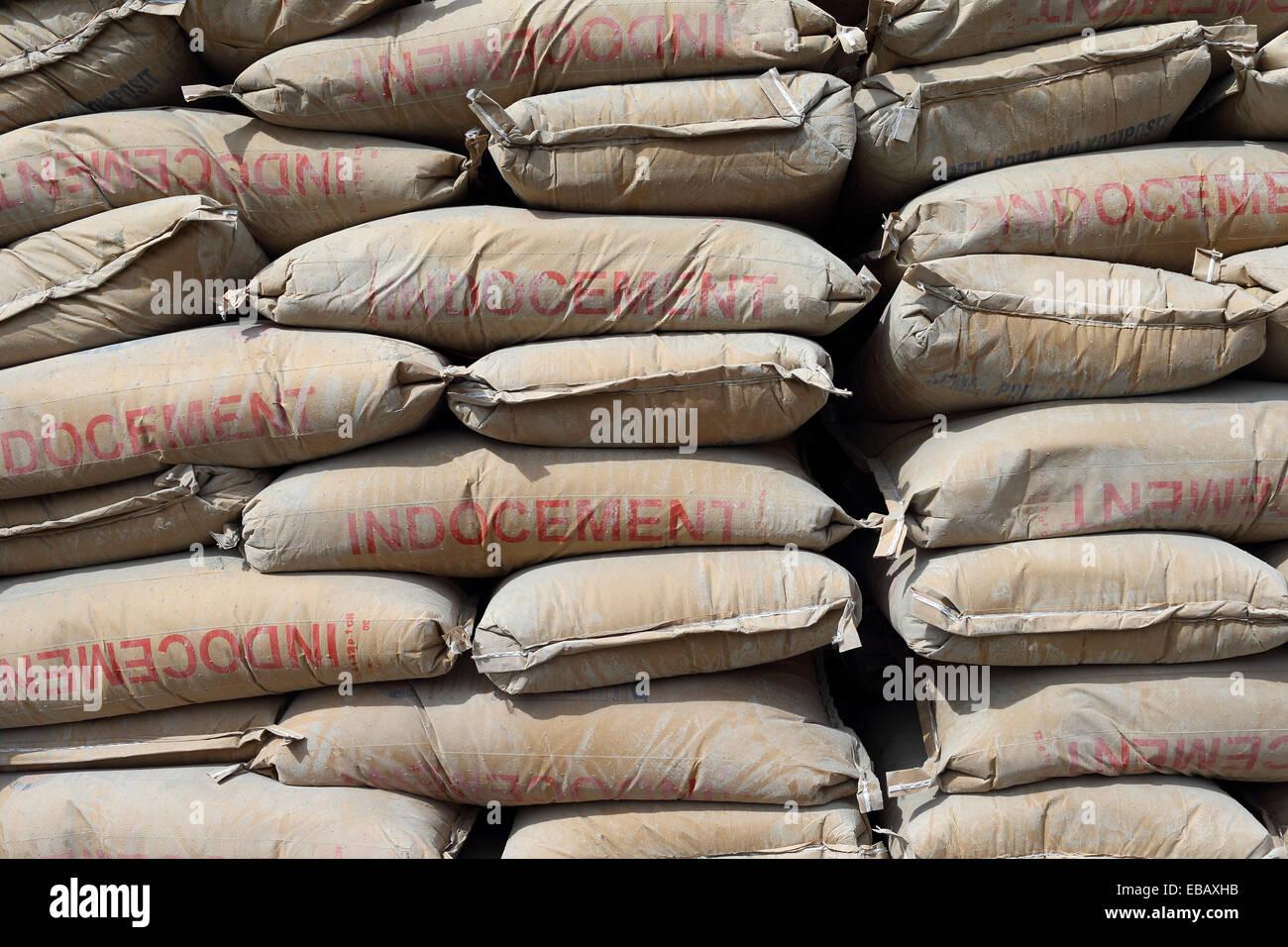 Sacks of cement, Jakarta, Java, Indonesia, Southeast Asia. - Stock Image
