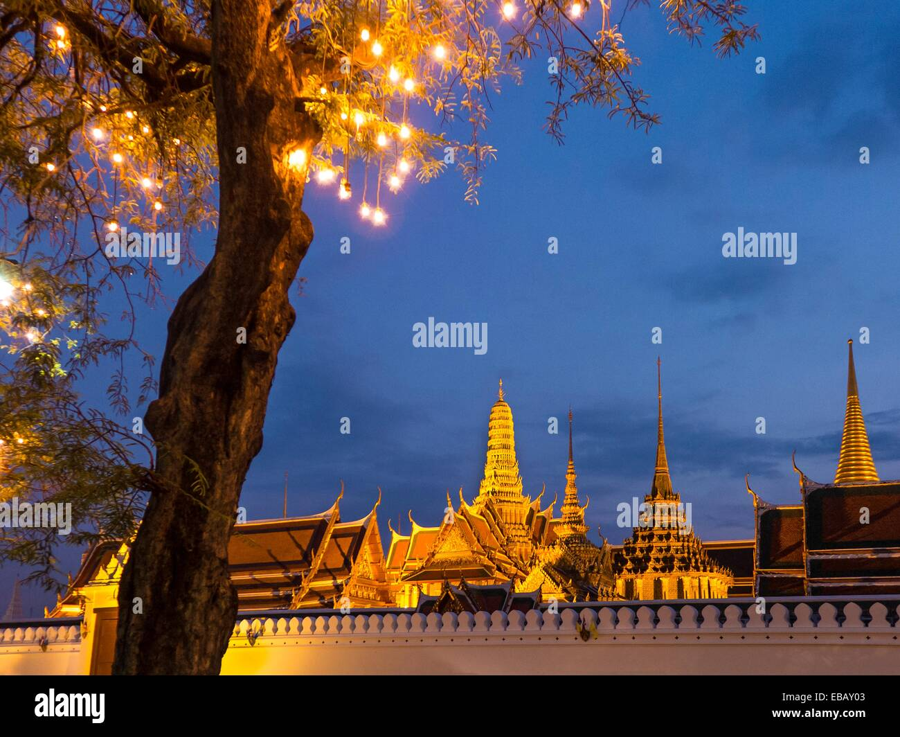 The Grand Palace is a complex of buildings at the heart of Bangkok, Thailand. The palace has been the official residence - Stock Image