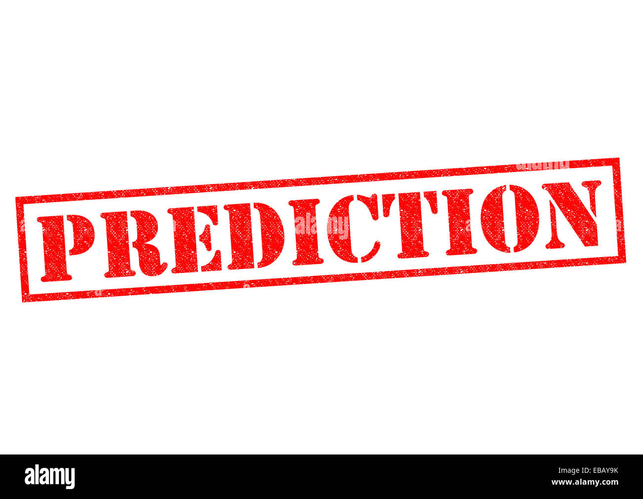 PREDICTION red rubber Stamp over a white background. - Stock Image