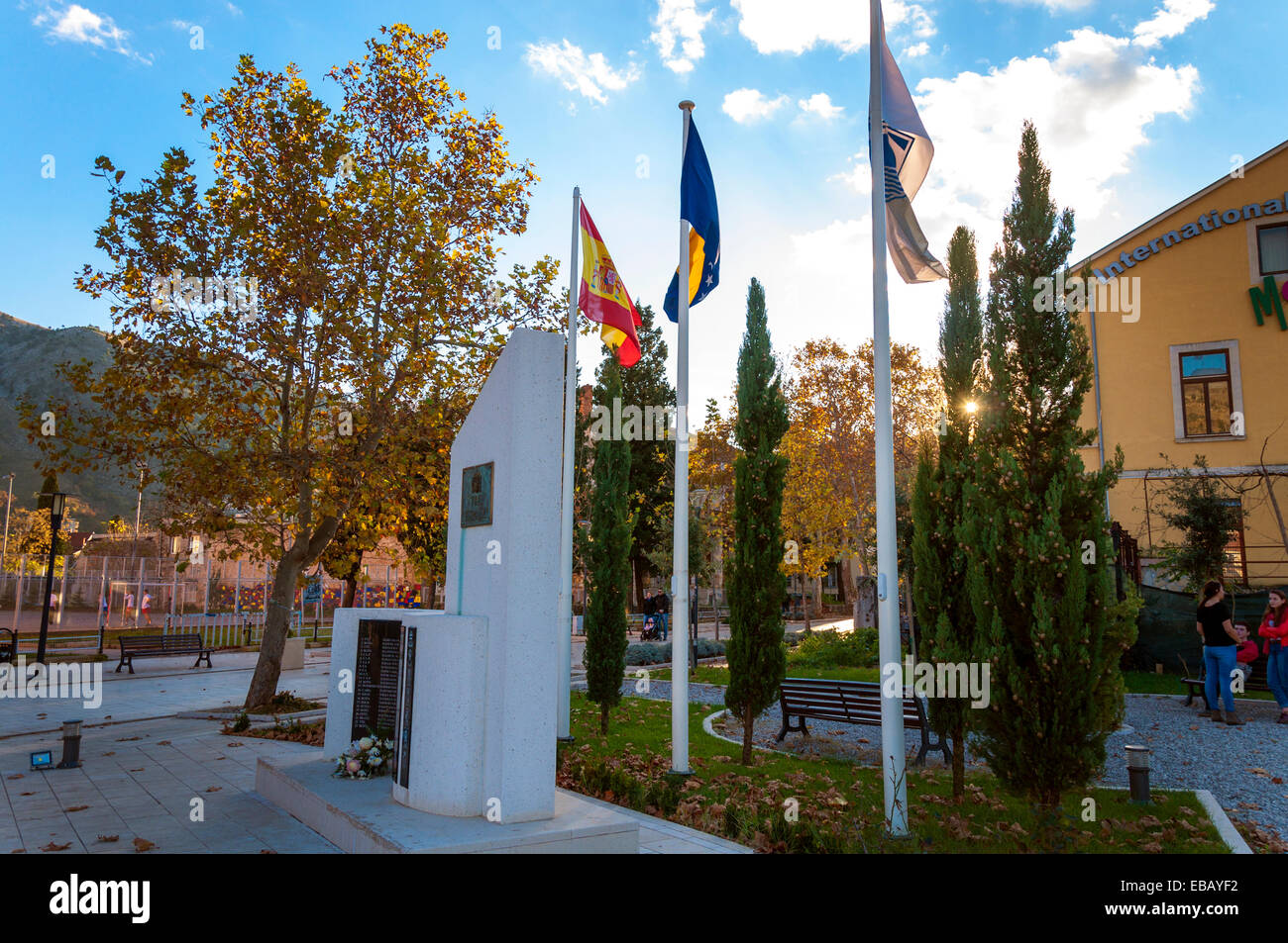 Memorial in Spanish Square Mostar Bosnia and Hercegovina to the twenty UN Spanish peacekeepers who died in the town - Stock Image