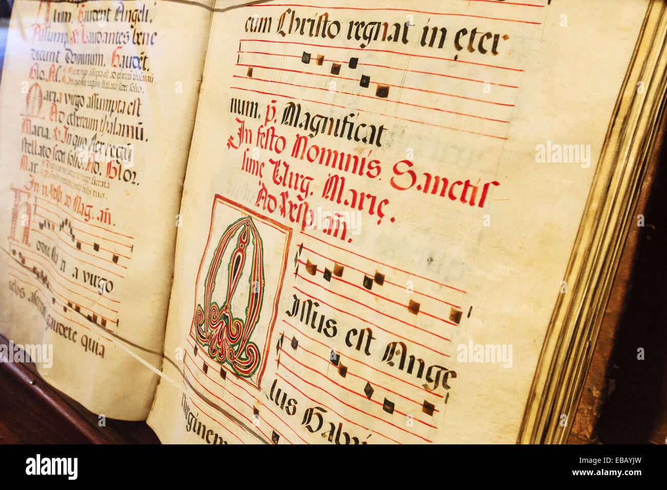 choir book, Gregorian chant on parchment, grammar room, Sanctuary of Our Lady of Cura, located in the Puig de Cura, - Stock Image