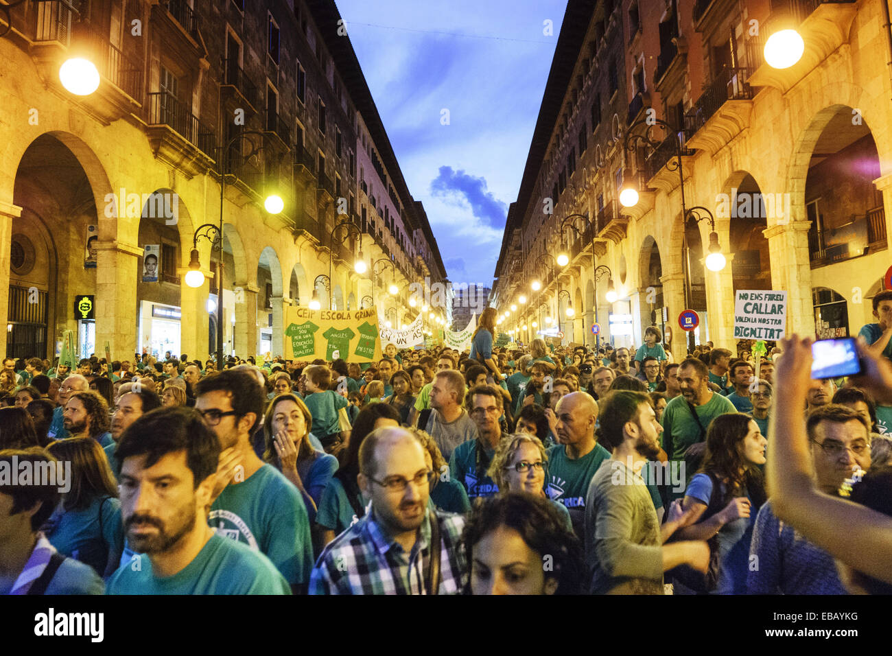 demonstration against government policy educational, street Jaime III, Palma.Mallorca.Islas Baleares. Spain. - Stock Image