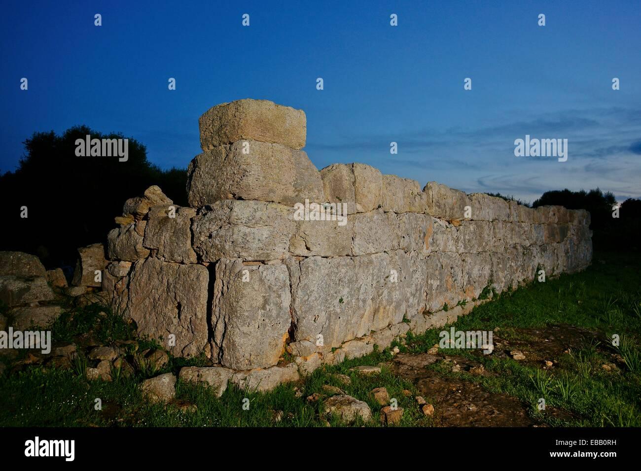 rectangular enclosure archaeological site of Hospitalet Vell 1000-900 BC Balearic Islands Mallorca Spain - Stock Image