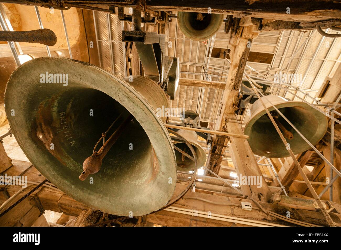 bells in the bell tower of the fifteenth century, Mallorca Cathedral, XIII Century, Historic-Artistic, Palma, Mallorca, - Stock Image