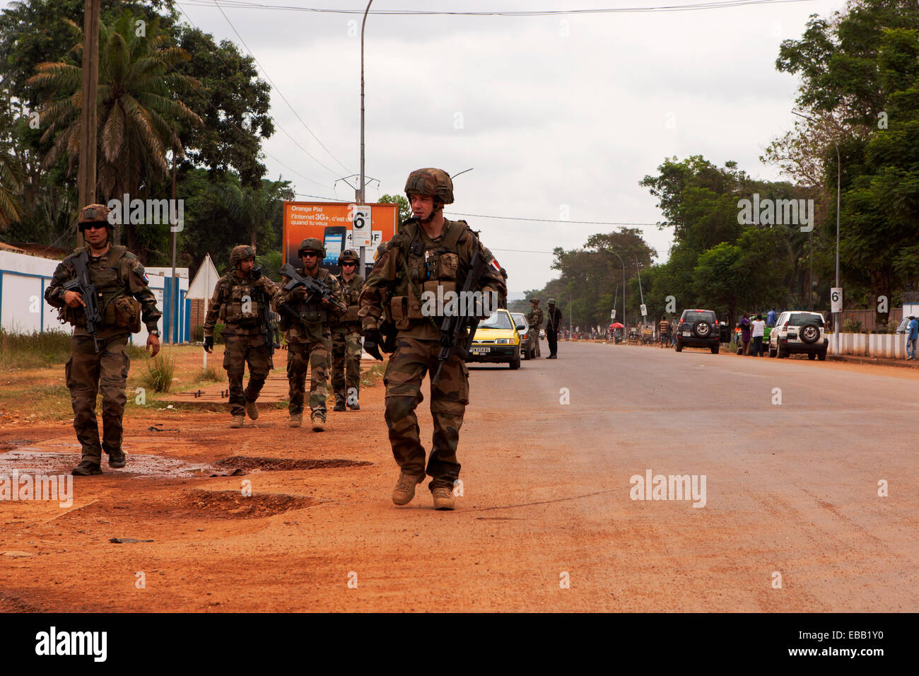 French troops on patrol in Bangui, Central African Republic - Stock Image