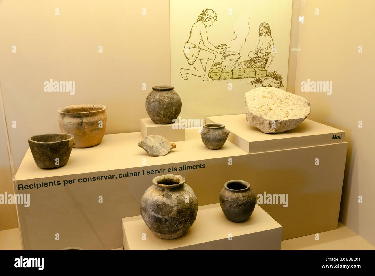 123 1300 archaeology Balearic Islands Bronze Age c color image container cooking cultural dining district Es Pla - Stock Image