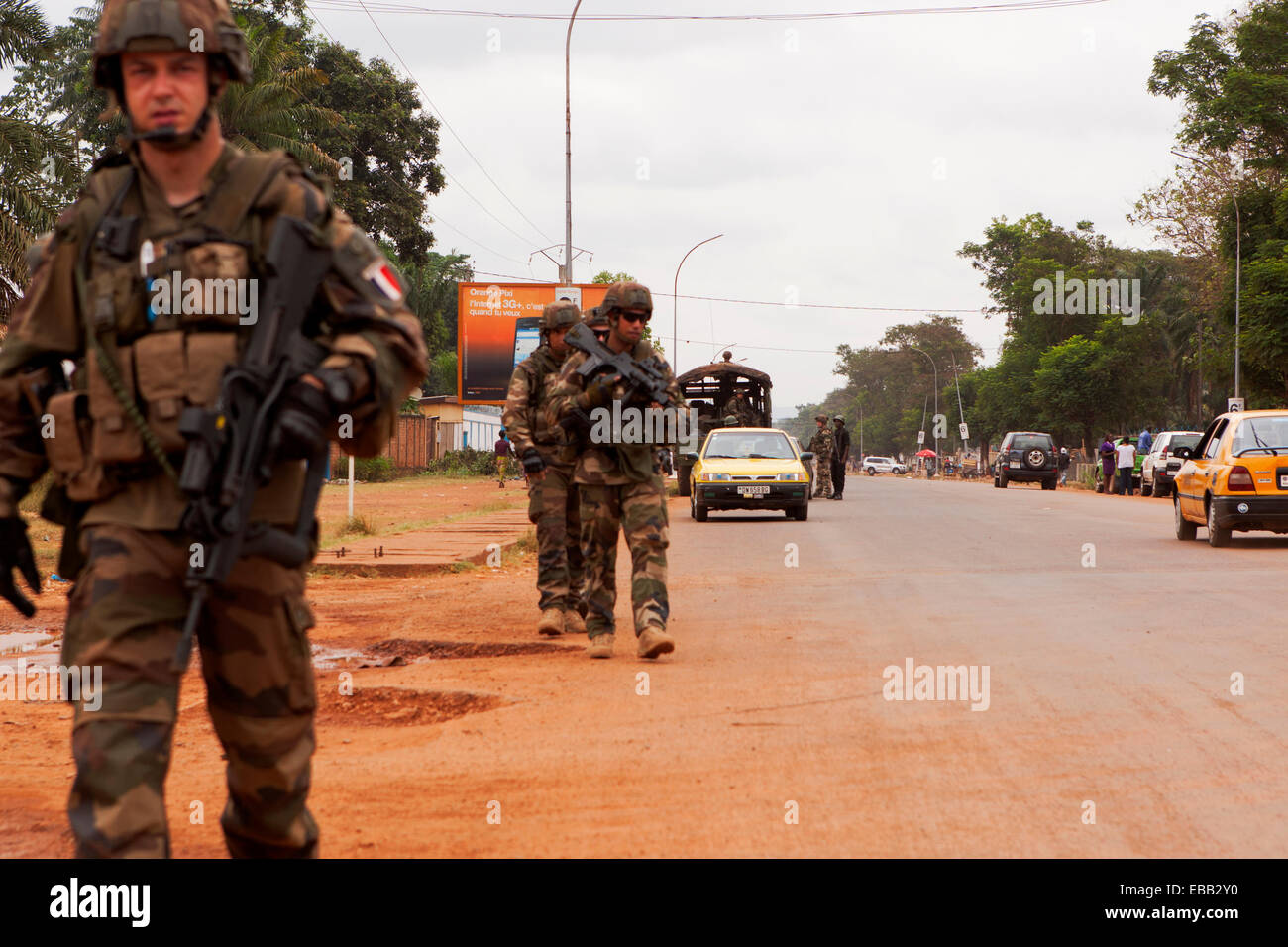 French troops on patrol  Bangui, Central African Republic - Stock Image