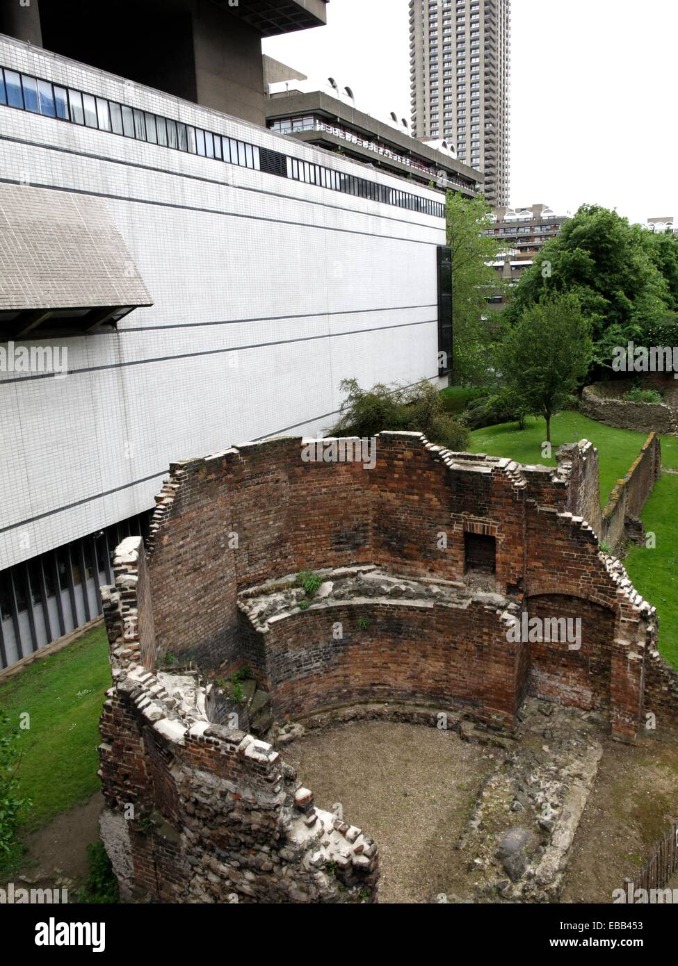 Ruins of rectangular fort built by Romans in AD 100-120  City of Westminster London city  England  Uited Kingdom. - Stock Image